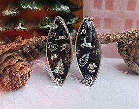 Náušnice - Vianočné náušnice visiace čierno-strieborné, nerezová oceľ - 11248290_
