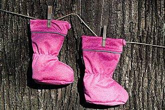 Topánočky - Topánočky s merino vlnou / softshell - RUŽOVÝ MELÍR - 11253925_