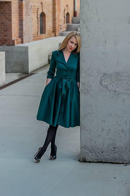 Šaty - Košilové šaty MILA, smaragdově zelená - 11250615_