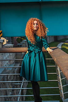 Šaty - Košilové šaty SARA, smaragdově zelené - 11250755_