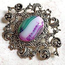 Odznaky/Brošne - Barocco Violet Agate Brooch / Baroková brošňa s fialovým achátom v starostriebornom prevedení /0079 - 11253875_