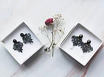 Náušnice - Náušnice s čipkou a perličkou. Čierne - 11254342_