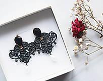 Náušnice - Náušnice s čipkou a perličkou. Čierne - 11254343_