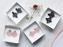 Náušnice - Náušnice s čipkou a perličkou. Čierne - 11254344_
