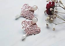 Náušnice - Náušnice s čipkou a perličkou. Staroružové - 11254366_