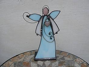 Svietidlá a sviečky - Blue angel - svietnik - 11250551_
