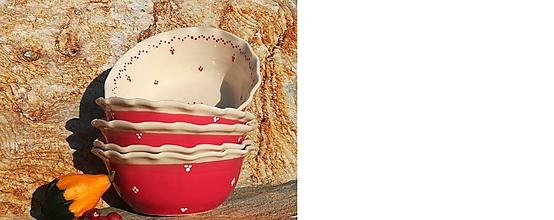 Nádoby - Červená keramická miska na polievku,guláš - maxi - 11251086_