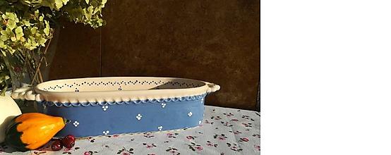 Nádoby - Modrý keramický pekáč na chlieb  - 11252036_