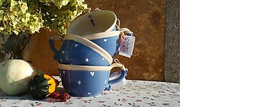 Nádoby - Modrá keramická šálka na polievku,čaj - 11252210_