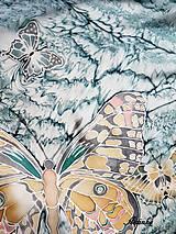 Šály - Hodvábny šál - motýle v búrke  - 11251786_
