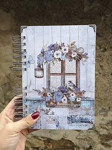 Papiernictvo - Modrý zápisník / notes / receptár okno do sveta - 11250282_