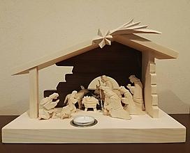 Dekorácie - Betlehem drevený s čajovou sviečkou - 11252385_