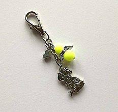 Kľúčenky - Prívesok s anjelikom a srdiečkom - sova (žltá) - 11251872_