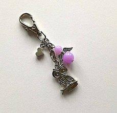 Kľúčenky - Prívesok s anjelikom a srdiečkom - sova (fialová) - 11251893_