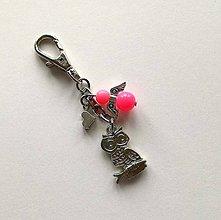 Kľúčenky - Prívesok s anjelikom a srdiečkom - sova (ružová) - 11251895_