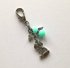 Kľúčenky - Prívesok s anjelikom a srdiečkom - sova (mint) - 11251896_