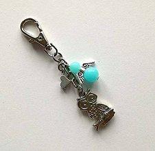 Kľúčenky - Prívesok s anjelikom a srdiečkom - sova (modrá svetlá) - 11251900_