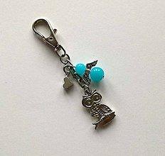 Kľúčenky - Prívesok s anjelikom a srdiečkom - sova (modrá) - 11251907_