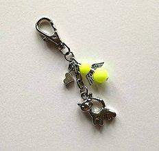 Kľúčenky - Prívesok s anjelikom a srdiečkom - mačka (žltá) - 11252759_