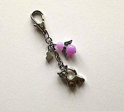Kľúčenky - Prívesok s anjelikom a srdiečkom - mačka (fialová) - 11252762_