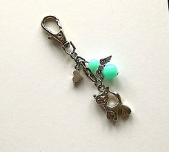 Kľúčenky - Prívesok s anjelikom a srdiečkom - mačka (mint) - 11252770_