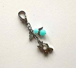 Kľúčenky - Prívesok s anjelikom a srdiečkom - mačka (modrá svetlá) - 11252772_