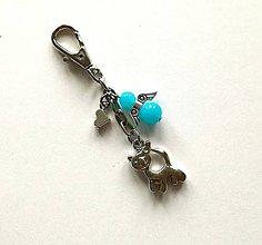 Kľúčenky - Prívesok s anjelikom a srdiečkom - mačka (modrá) - 11252775_