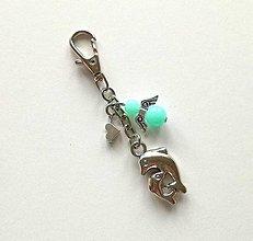 Kľúčenky - Prívesok s anjelikom a srdiečkom - delfín (mint) - 11253206_
