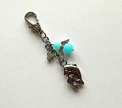 Kľúčenky - Prívesok s anjelikom a srdiečkom - delfín (modrá svetlá) - 11253207_