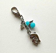 Kľúčenky - Prívesok s anjelikom a srdiečkom - delfín (modrá) - 11253208_