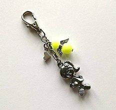 Kľúčenky - Prívesok s anjelikom a srdiečkom - dievča (žltá) - 11253893_