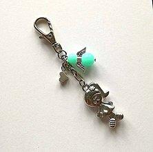 Kľúčenky - Prívesok s anjelikom a srdiečkom - dievča (mint) - 11253908_