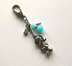 Kľúčenky - Prívesok s anjelikom a srdiečkom - dievča (modrá svetlá) - 11253910_