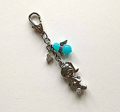 Kľúčenky - Prívesok s anjelikom a srdiečkom - dievča (modrá) - 11253912_