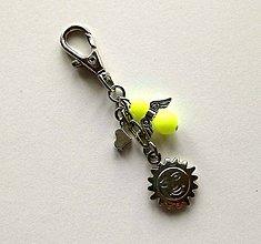 Kľúčenky - Prívesok s anjelikom a srdiečkom - slnko (žltá) - 11254109_