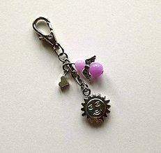 Kľúčenky - Prívesok s anjelikom a srdiečkom - slnko (fialová) - 11254117_