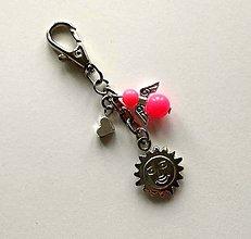 Kľúčenky - Prívesok s anjelikom a srdiečkom - slnko (ružová) - 11254120_