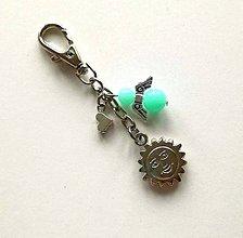 Kľúčenky - Prívesok s anjelikom a srdiečkom - slnko (mint) - 11254122_