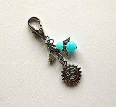 Kľúčenky - Prívesok s anjelikom a srdiečkom - slnko (modrá svetlá) - 11254123_