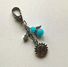 Kľúčenky - Prívesok s anjelikom a srdiečkom - slnko (modrá) - 11254124_