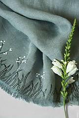Šály - Maľovaný šál sivozelenopetrolejovej farby, 100% francúzsky ľan - 11250949_