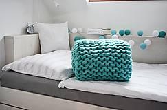 Úžitkový textil - Chunky deka tyrkysová - 100% ovčia vlna - 11252580_