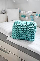 Úžitkový textil - Chunky deka tyrkysová - 100% ovčia vlna - 11252581_