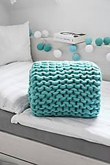 Úžitkový textil - Chunky deka tyrkysová - 100% ovčia vlna - 11252582_
