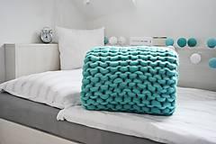 Úžitkový textil - Chunky deka tyrkysová - 100% ovčia vlna - 11252583_