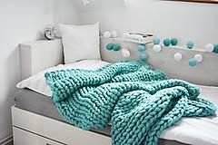 Úžitkový textil - Chunky deka tyrkysová - 100% ovčia vlna - 11252584_