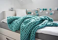 Úžitkový textil - Chunky deka tyrkysová - 100% ovčia vlna - 11252590_