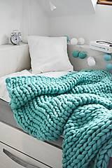 Úžitkový textil - Chunky deka tyrkysová - 100% ovčia vlna - 11252591_