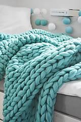 Úžitkový textil - Chunky deka tyrkysová - 100% ovčia vlna - 11252592_