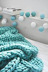Úžitkový textil - Chunky deka tyrkysová - 100% ovčia vlna - 11252593_
